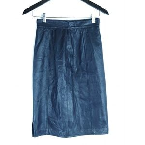 Vintage Navy Blue Genuine Leather Pencil Skirt